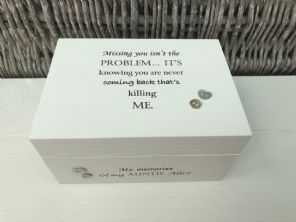 Personalised In Memory Of Box Loved One ~ AUNTIE AUNTY any Name Bereavement Loss - 332628013996